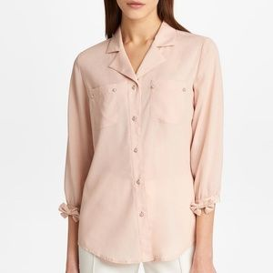 Karl Lagerfeld BUTTON DOWN BLOUSE WITH BOW SLEEVES